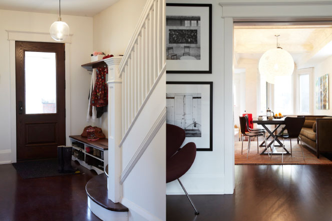 two images, front entrance and dining room, Hasnain and Mahshad