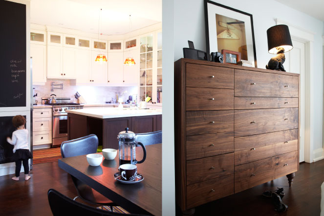 two images, kitchen and walnut chest, Hasnain and Mahshad