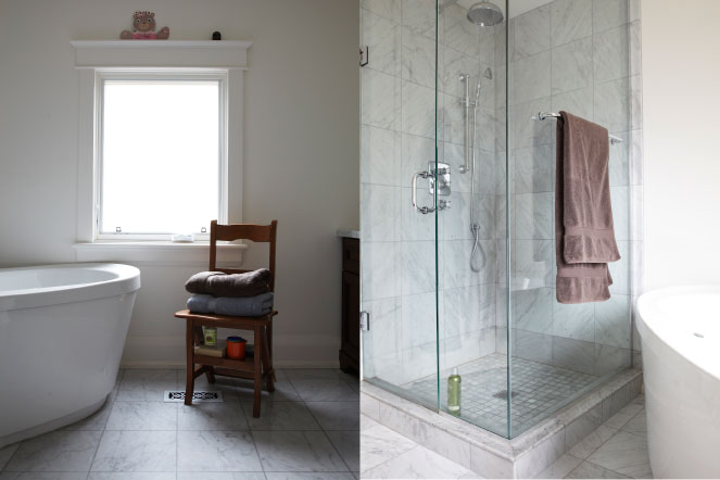 two images of bathrooms, Hasnain and Mahshad