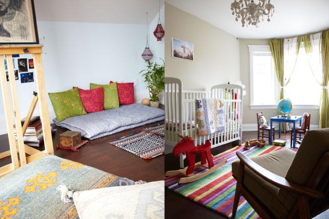 two images, studio and nursery, Hasnain and Mahshad