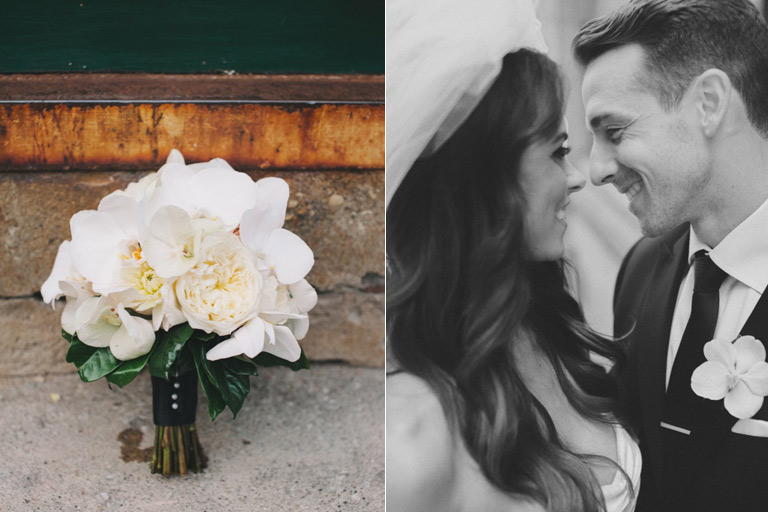 Bride and groom and white peony bouquet