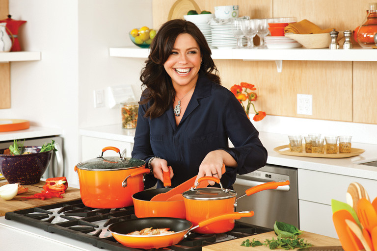 Rachael-Ray-Porcelain-II-Cookware_Lifestyle_Orange-Tongs_768X512